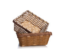 Empty wooden fruit or bread basket on white background,isolated. Stock Photos
