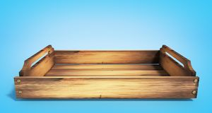 Empty wooden fruit crate 3d render on blue. Empty wooden fruit crate 3d render stock photos