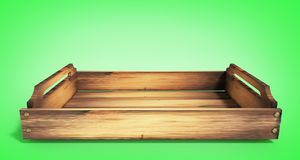 Empty wooden fruit crate 3d render on green. Empty wooden fruit crate 3d render stock photo