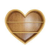 Empty wooden heart shelf isolated on white background Stock Photo
