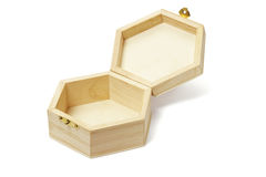 Empty wooden hexagonal shape storage box Royalty Free Stock Photography