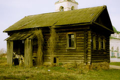 Empty wooden house in the Russian village on a Stock Photo