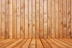 Empty wooden interior room for product placement. Selective focus on foreground Stock Photo