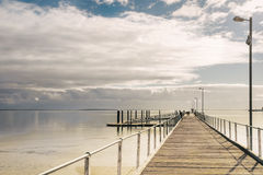 Empty wooden jetty. Wooden jetty at Port Lincoln, South Australia Royalty Free Stock Images