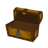 Empty wooden open chest. Stock Photos