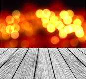 Empty Wooden Perspective Platform with Sparkling Abstract Rainbow Blur Bokeh used as Template to Mock up for Display Product Royalty Free Stock Image