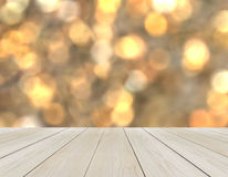 Empty Wooden Perspective Platform with Sparkling Abstract Rainbow Blur Bokeh used as Template to Mock up for Display Product Stock Photos