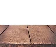 Empty wooden perspective on the white background. Royalty Free Stock Photography