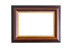 Empty wooden photo frame isolated on white. Interior decoration. Stock Image