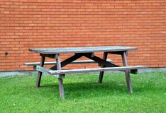 Empty wooden picnic table Stock Photo