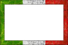 Empty wooden picture frame italian flag design. Empty wooden picture or blackboard frame in italian italy flag design on white background royalty free stock photos