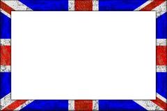 Empty wooden picture frame union jack flag design. Empty wooden picture or blackboard frame in union jack great britain united kingdom flag design on white stock image