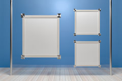 Empty wooden picture frame on glass walls. - 3D render image. Royalty Free Stock Photos
