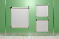 Empty wooden picture frame on glass walls. - 3D render image. Royalty Free Stock Images
