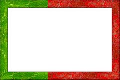 Empty wooden picture frame portuguese flag design royalty free stock images