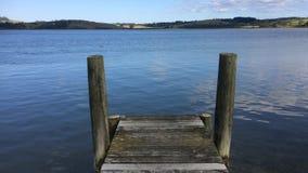 Empty wooden pier in Northland New Zealand stock video