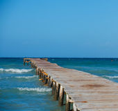 Empty wooden pier Royalty Free Stock Images