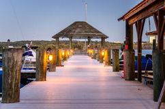 Empty Wooden Pier at Twilight Stock Images