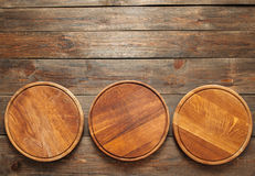 Empty wooden pizza plates with copy space Royalty Free Stock Images