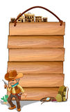 Empty wooden planks with a cowboy Stock Image