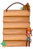Empty wooden planks with a cowgirl Stock Image
