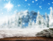 Empty wooden planks with snowy background Stock Photography