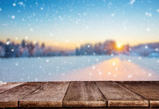 Empty Wooden Planks With Winter Mountains Stock Image