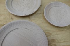 Empty wooden plates. Set of empty wooden plates Royalty Free Stock Images