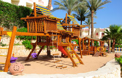Empty Wooden playground for children in hotel resort in Egipt, Sinai Royalty Free Stock Images