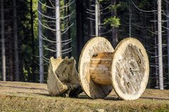 Empty wooden roll that is used for electrical wires and excavato Royalty Free Stock Photography