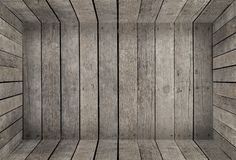 Empty wooden room box texture for product display Royalty Free Stock Images