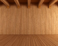 Empty wooden room with ceiling beams. Rendering vector illustration