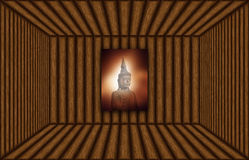 Empty wooden room space with buddha image Stock Photo