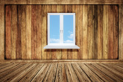 Empty wooden room with a window Royalty Free Stock Photos