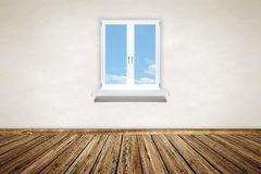 Empty wooden room with a window Royalty Free Stock Photography