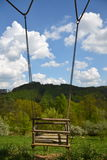 Empty wooden rope swing in nature Stock Photography
