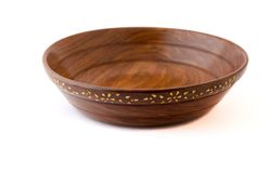 Empty wooden salad or fruit bowl Royalty Free Stock Photography