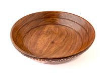 Empty wooden salad or fruit bowl Stock Images
