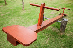 Empty wooden seesaw Stock Photo