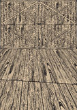 Empty wooden shed. Vintage drawing background Stock Photos