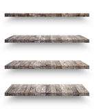 Empty wooden shef isolated on the wall Stock Photos