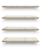 Empty wooden shef isolated on the wall Royalty Free Stock Photos
