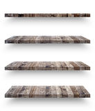 Empty wooden shef isolated on the wall Stock Photo