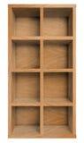 Empty wooden shelf, bookshelf or bookcase isolated on white Stock Photography