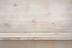 Empty wooden shelf on wood texture background Royalty Free Stock Image