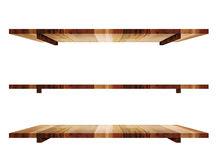 Empty wooden shelfs in 3 angle view isolated on white background Royalty Free Stock Photo