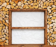 Empty wooden shelves with firewood decoration Royalty Free Stock Image