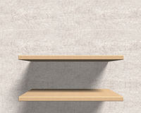 Empty wooden shelves on the wall. Stock Image