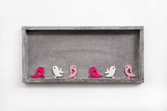Empty wooden sign or background with birds for easter. Royalty Free Stock Images