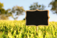 Empty wooden sign in the forest, garden or park Stock Photo